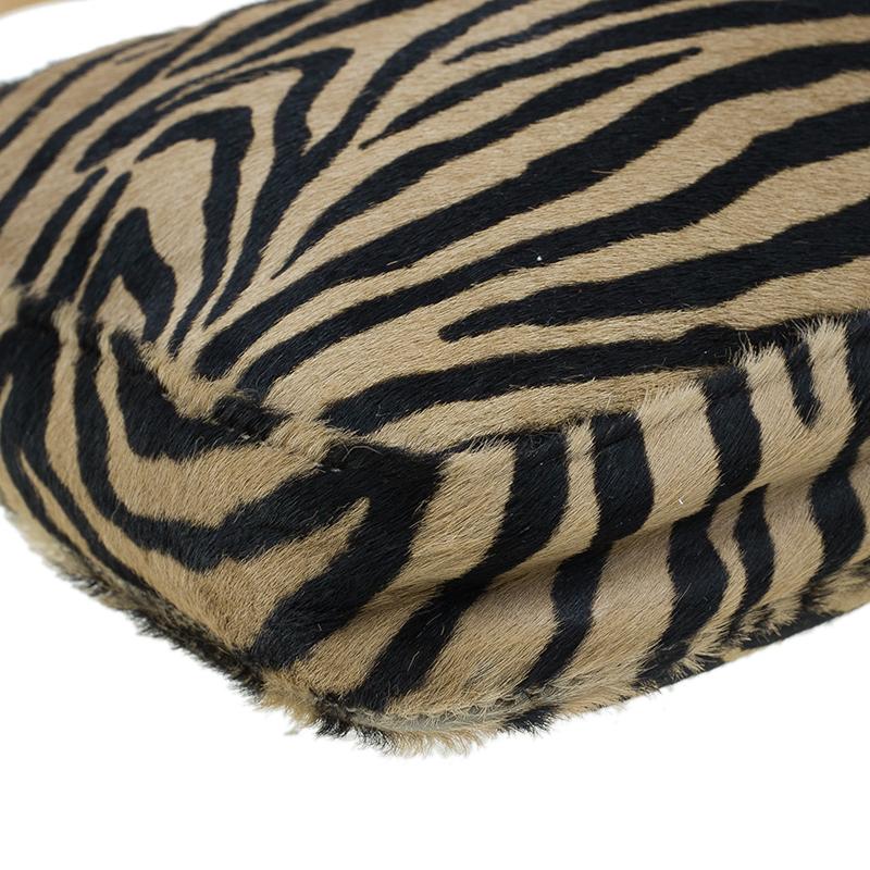 Fendi Zebra Pony Hair Hobo Shoulder Bag