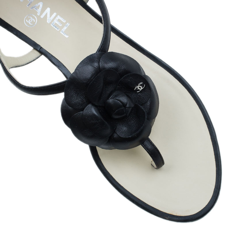 Chanel Black Camellia Thong Sandals Size 39.5