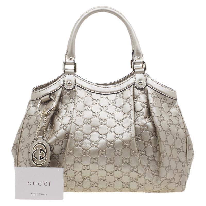 Gucci Champagne Guccissima Leather Sukey Tote