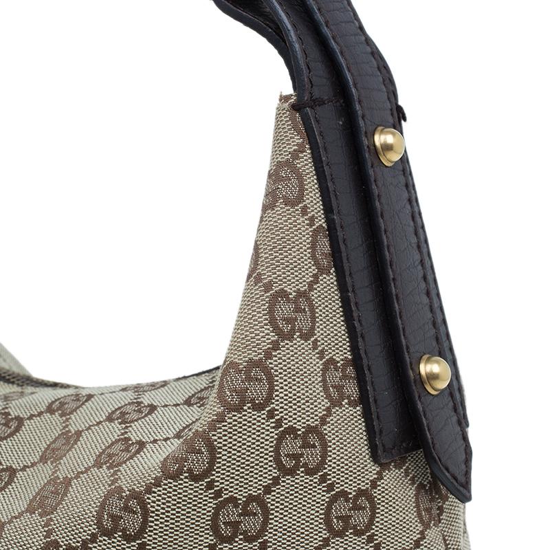 Gucci Beige/Ebony GG Canvas Medium Horsebit Hobo Bag