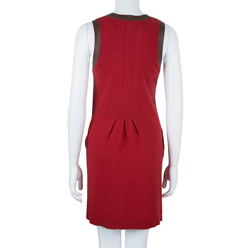 See by Chloe Red Wool Leather Trimming Dress S