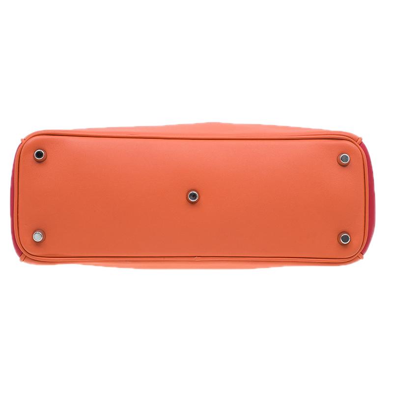 Dior Orange/Pink Tricolor Calfskin Leather Medium Diorissimo Tote Bag