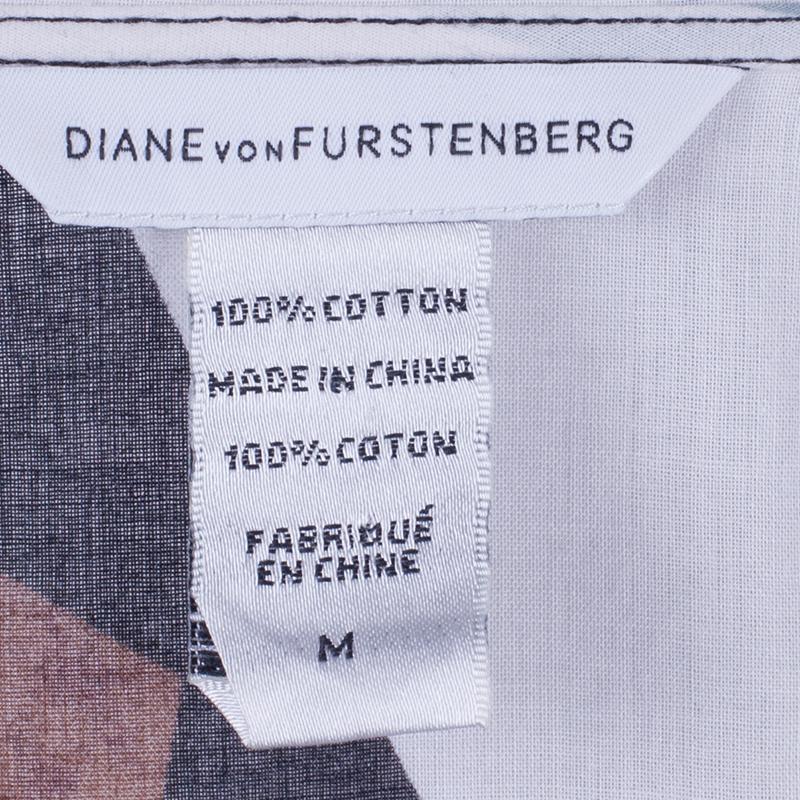 Diane von Furstenberg Helma Animal Print Kaftan Top M