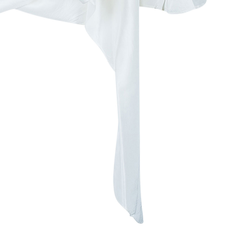 CH Carolina Herrera White Ruffle Detail Silk Top S