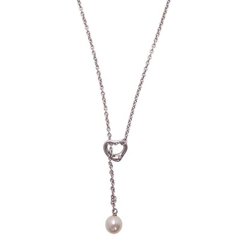 Tiffany & Co. Elsa Peretti Open Heart Lariat Pearl Sterling Silver Necklace