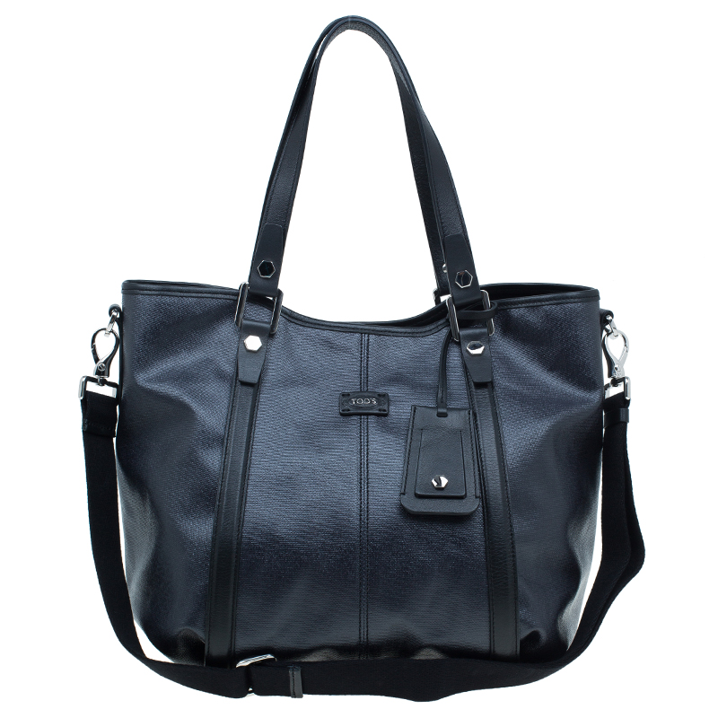 Tod's Black Coated Canvas Medium Sacca Tote Bag