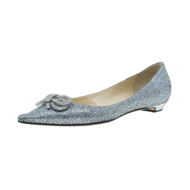 Jimmy Choo Glitter and Crystal Raquelle Bow Ballet Flats Size 38