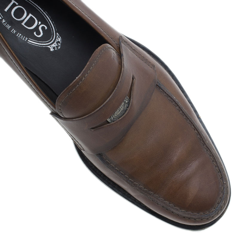 Tod's Brown Leather Penny Loafers Size 41