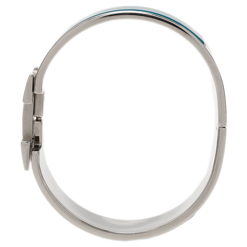 Hermes Clic Clac H Wide Duck Blue Enamel Palladium-Plated Bracelet PM