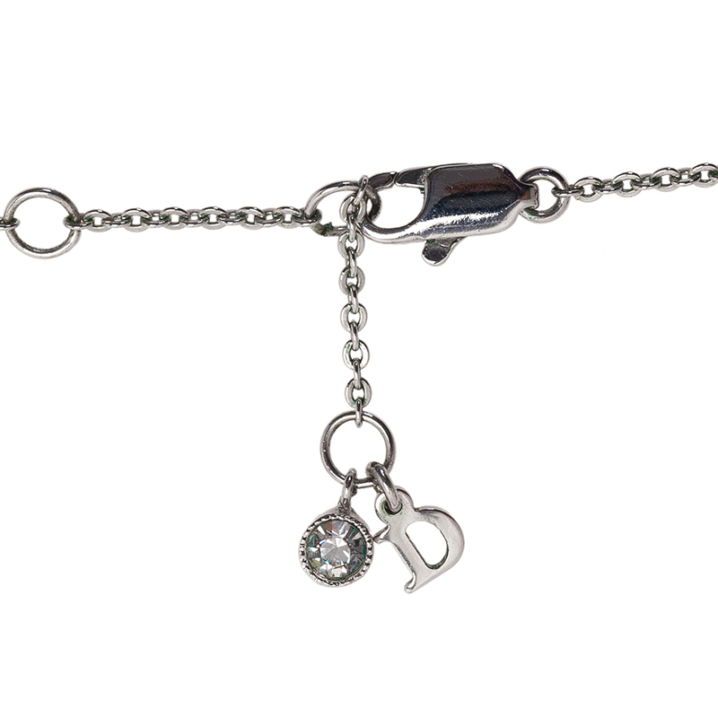 Dior Monogram Bow Crystal Silver Tone Necklace
