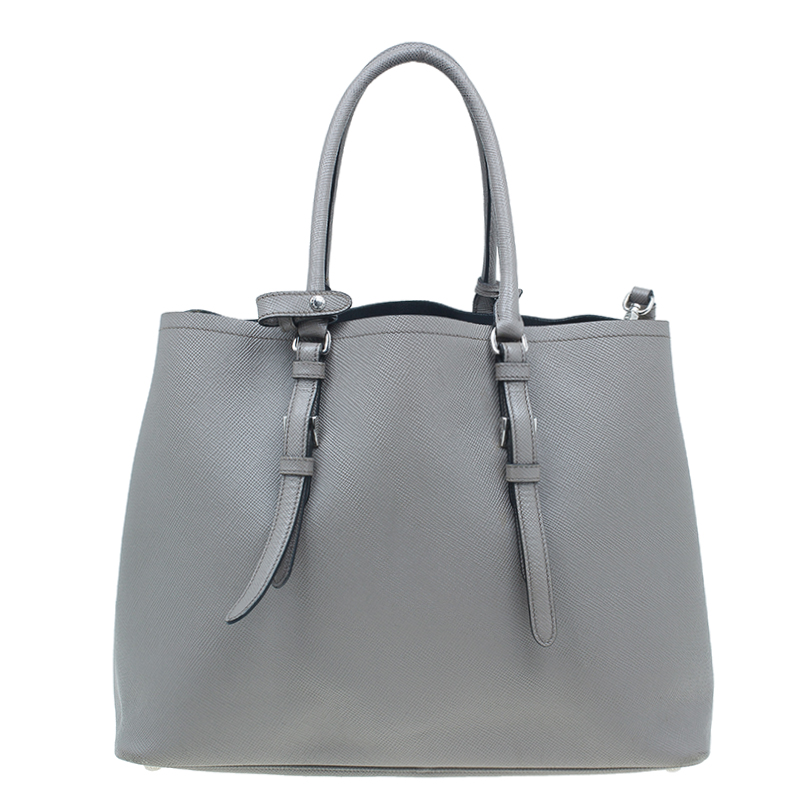 Prada Grey Saffiano Soft Leather Convertible Tote