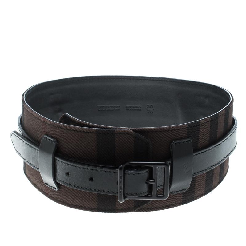 Купить со скидкой Burberry Black/Dark Brown Check Fabric Wide Belt 85cm