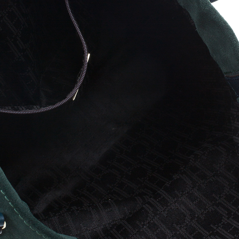 Carolina Herrera Green Suede and Leather Shopper Tote