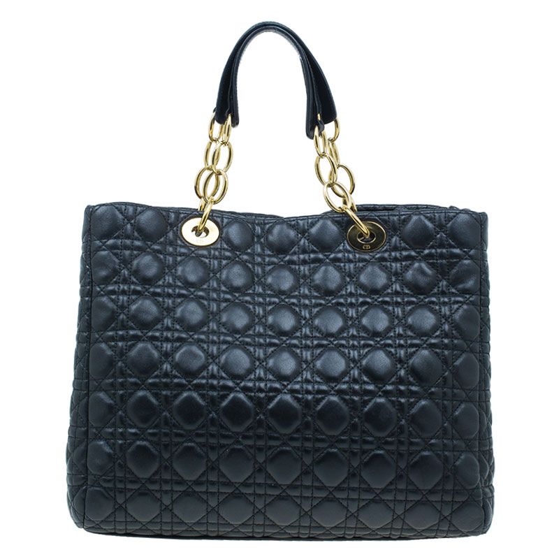 Dior Black Cannage Lambskin Leather Soft Lady Dior Shopping
