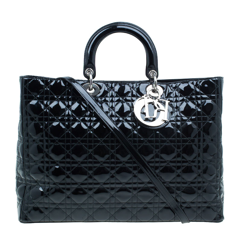 Dior Black Patent Leather Extra Large Lady Dior Tote