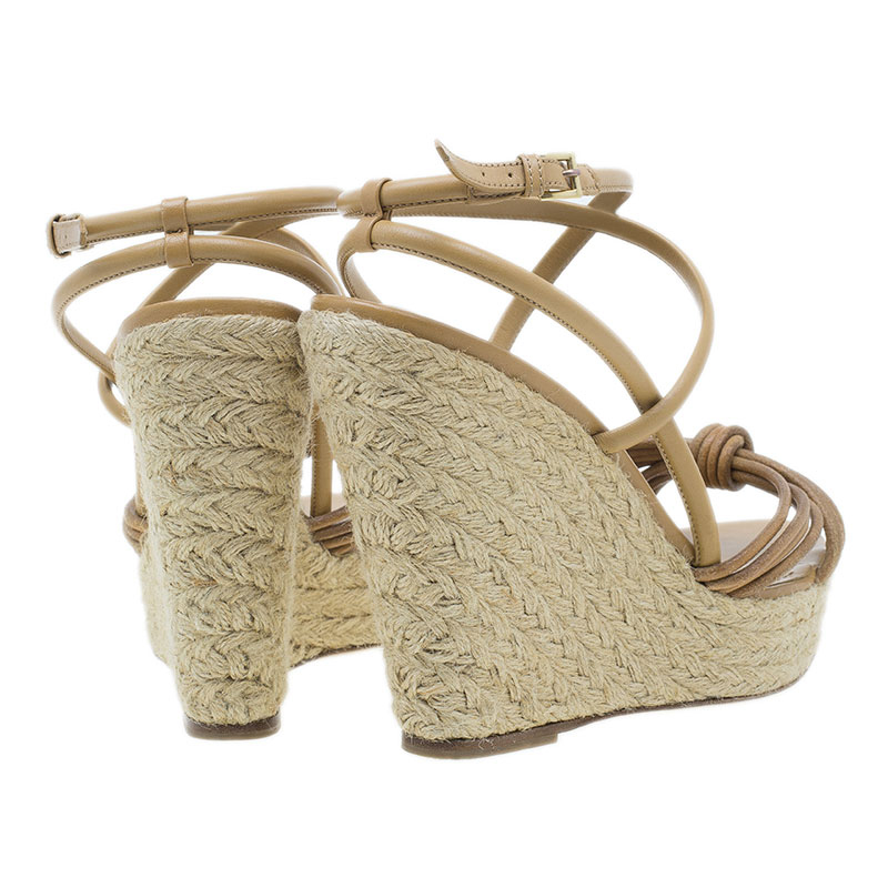 Burberry Brown Knotted Leather Espadrille Wicker Wedge Sandals Size 40