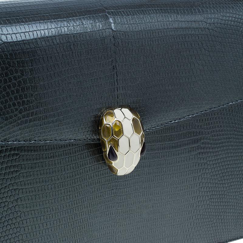 Bvlgari Metallic Lizard Skin Medium Serpenti Flap Shoulder Bag