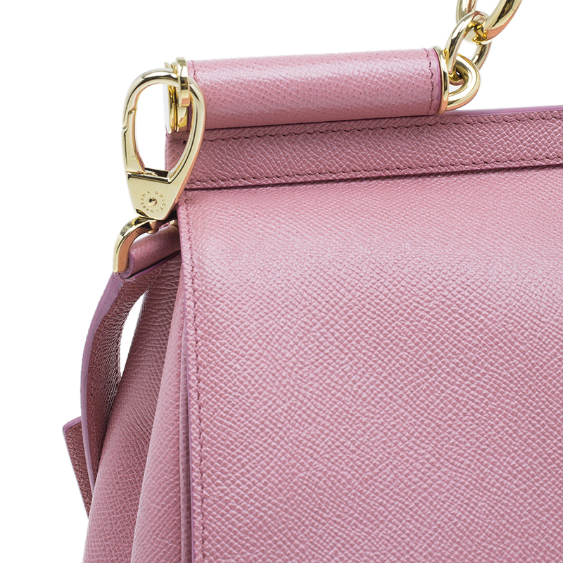 Dolce and Gabbana Pink Leather Large Miss Sicily Tote