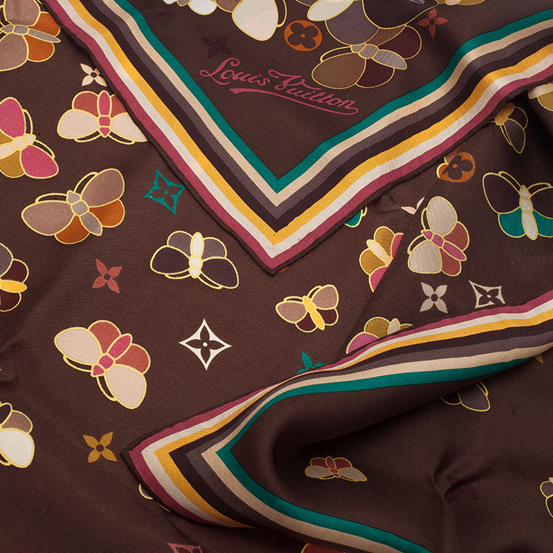Louis Vuitton Brown Butterfly Print Square Scarf