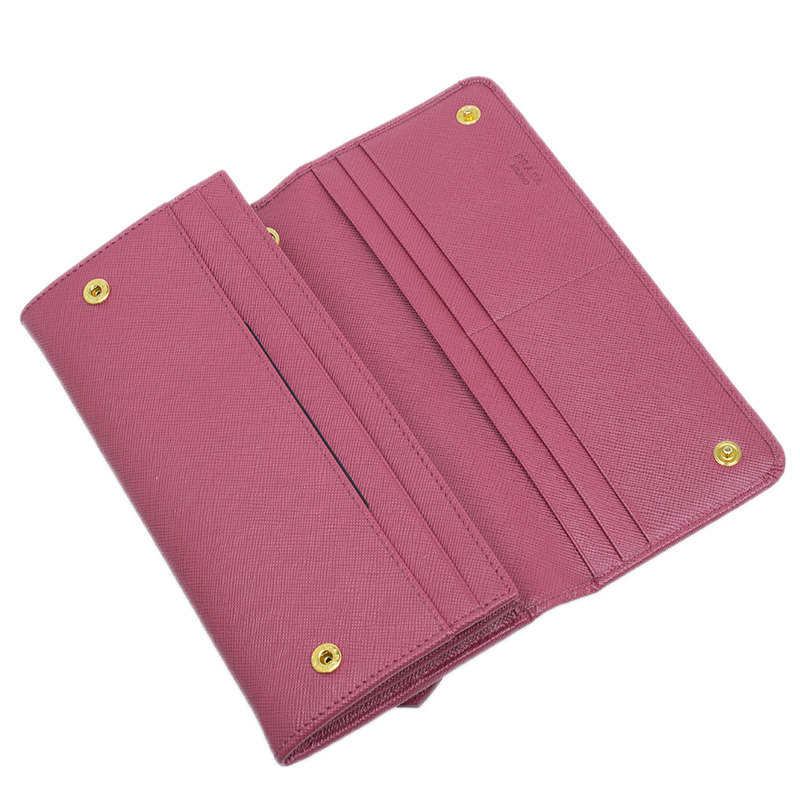 Prada Pink Saffiano Leather Continental Flap Wallet