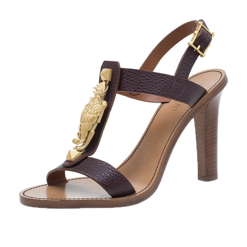 Valentino Brown Leather Gryphon T Strap Sandals Size 39