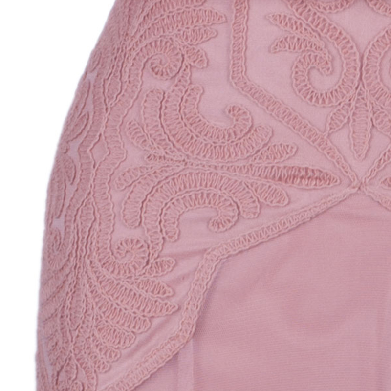 Tadashi Shoji Rose Pink Embroidered Short Sleeve Tulle Gown M