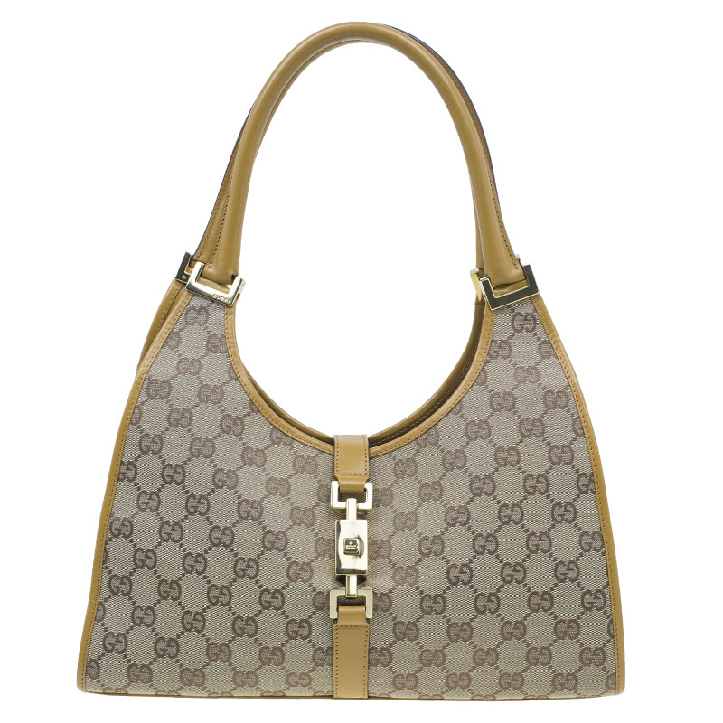 Gucci Brown Canvas Medium GG Jackie Hobo