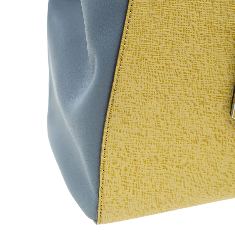Fendi Yellow Two Tone Saffiano Leather 2Jours Tote