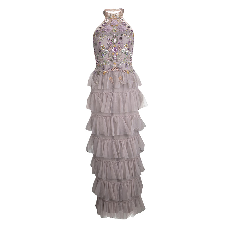Marchesa Notte Purple Embellished Halter Neck Tiered Gown S - Buy ...
