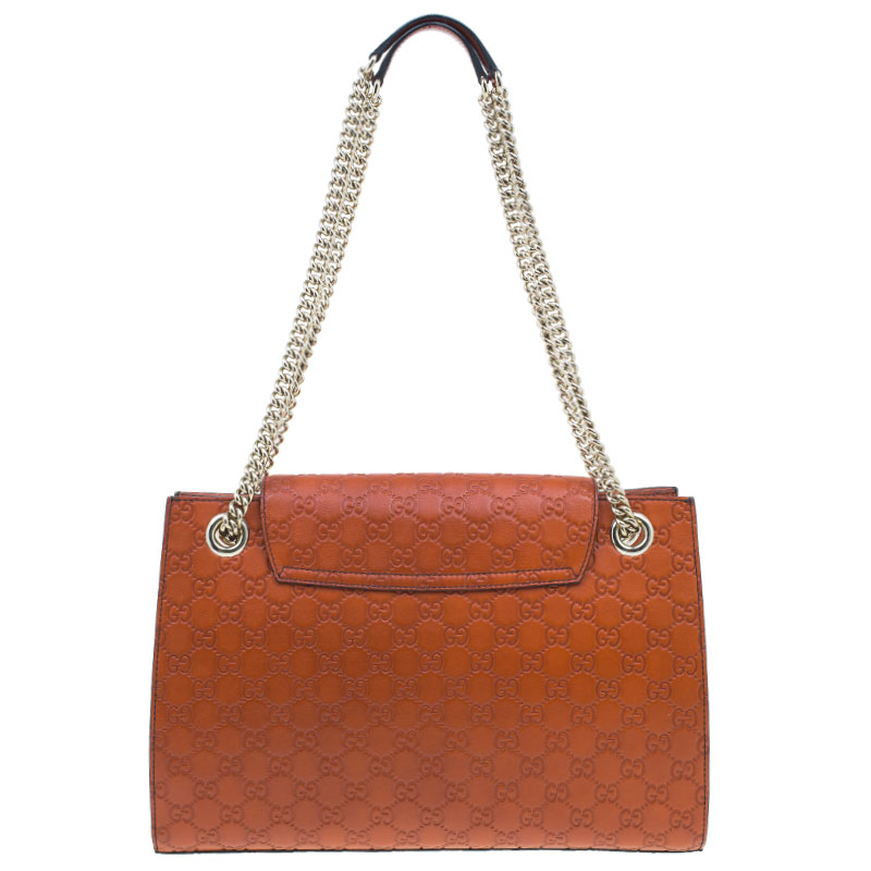 Gucci Orange Leather Monogram Guccissima Emily Chain Shoulder Bag