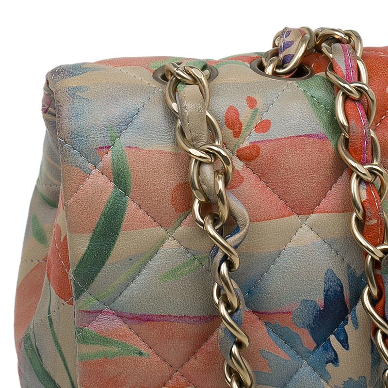 Chanel Floral Print Leather Jumbo Classic Single Flap Bag