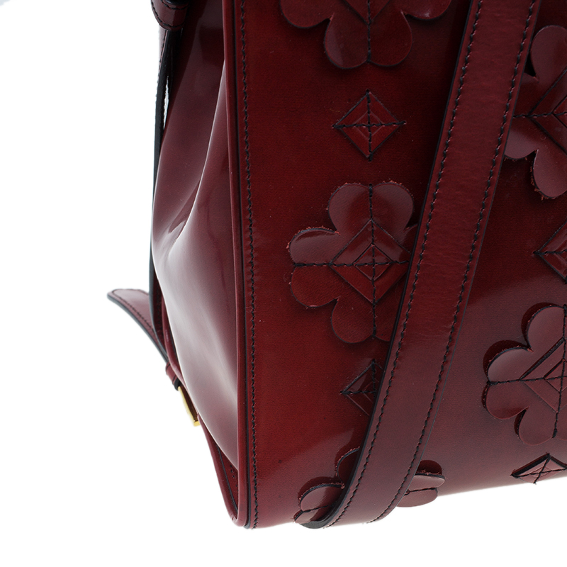 Prada Red Patent Leather Floral Framed Top Handle Bag