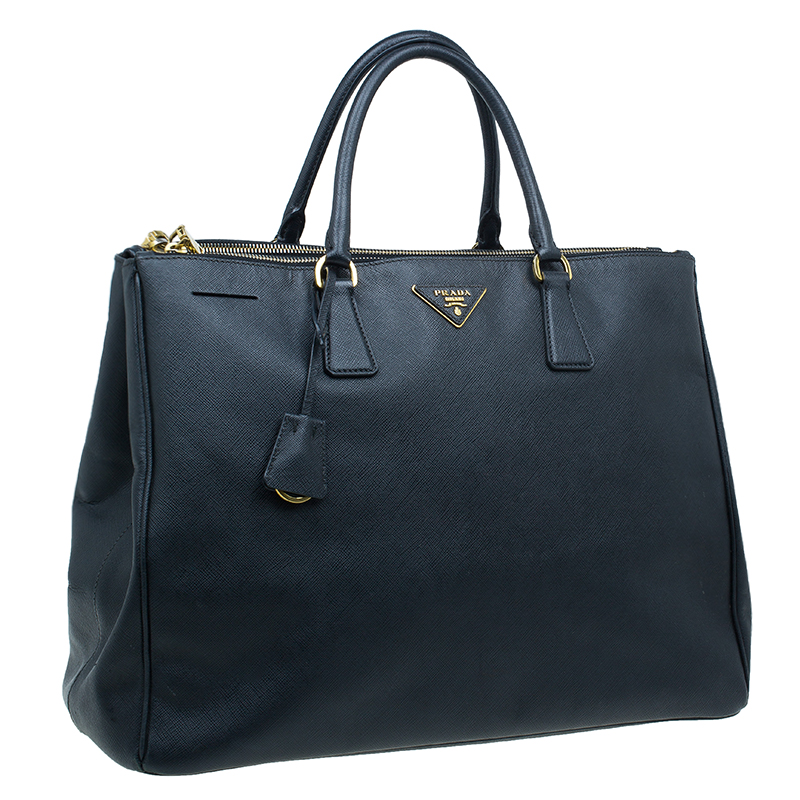 Prada Black Saffiano Lux Leather Double Zip Tote Bag
