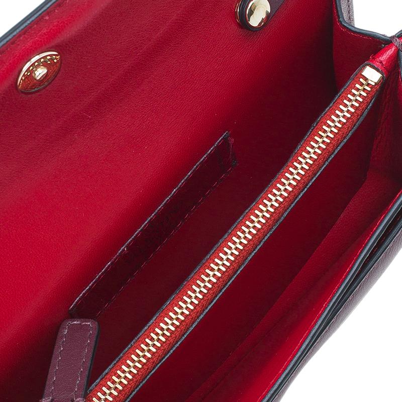 Valentino Burgundy Leather Rockstud Clutch/Crossbody Bag