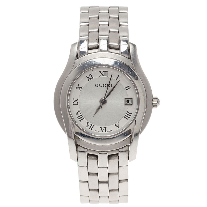 Gucci Silver Stainless Steel 5500L Women's Wristwatch 24MM