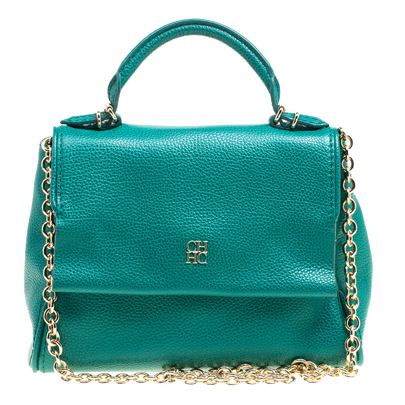 Купить со скидкой Carolina Herrera Green Leather Top Handle Shoulder Bag