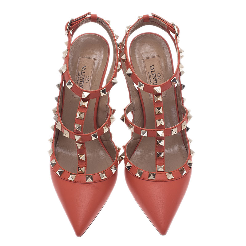 Valentino Peach Leather Rockstud Sandals Size 36.5