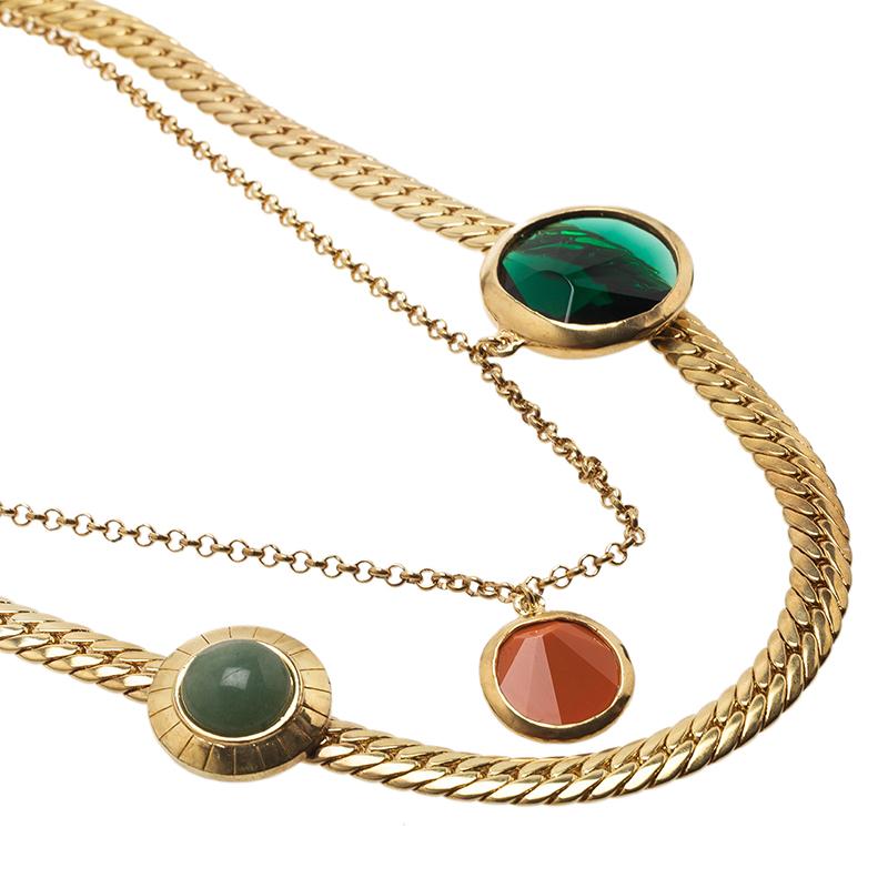 Carolina Herrera Stones and Shells Gold-Tone Necklace