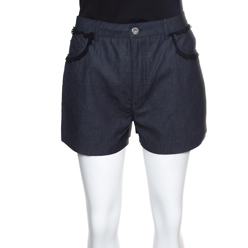 Купить со скидкой Miu Miu Grey Cotton Chambray Contrast Lace Trim High Waist Shorts S