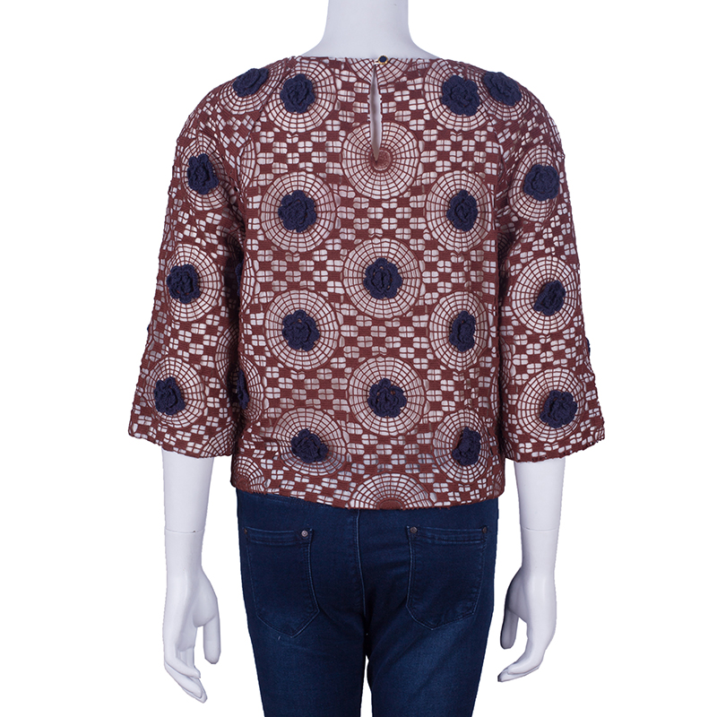 Tory Burch Crochet Silk Top L