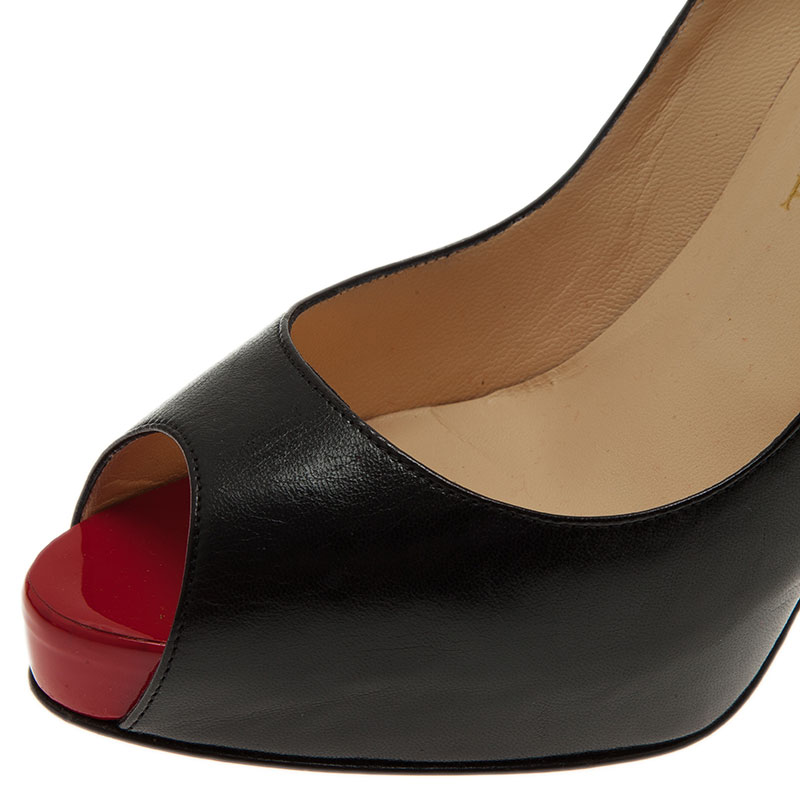 Christian Louboutin Black Leather Very Prive Peep Toe Pumps Size 39.5