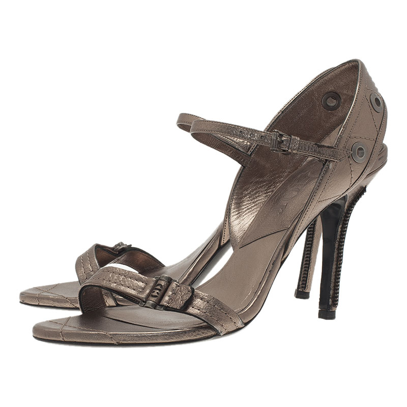 Dior Grey Leather Open Toe Ankle Strap Sandals Size 40