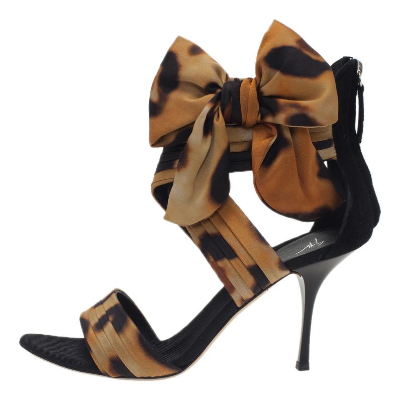 Giuseppe Zanotti Leopard Print Silk and Satin Bow Detail Sandals Size 40