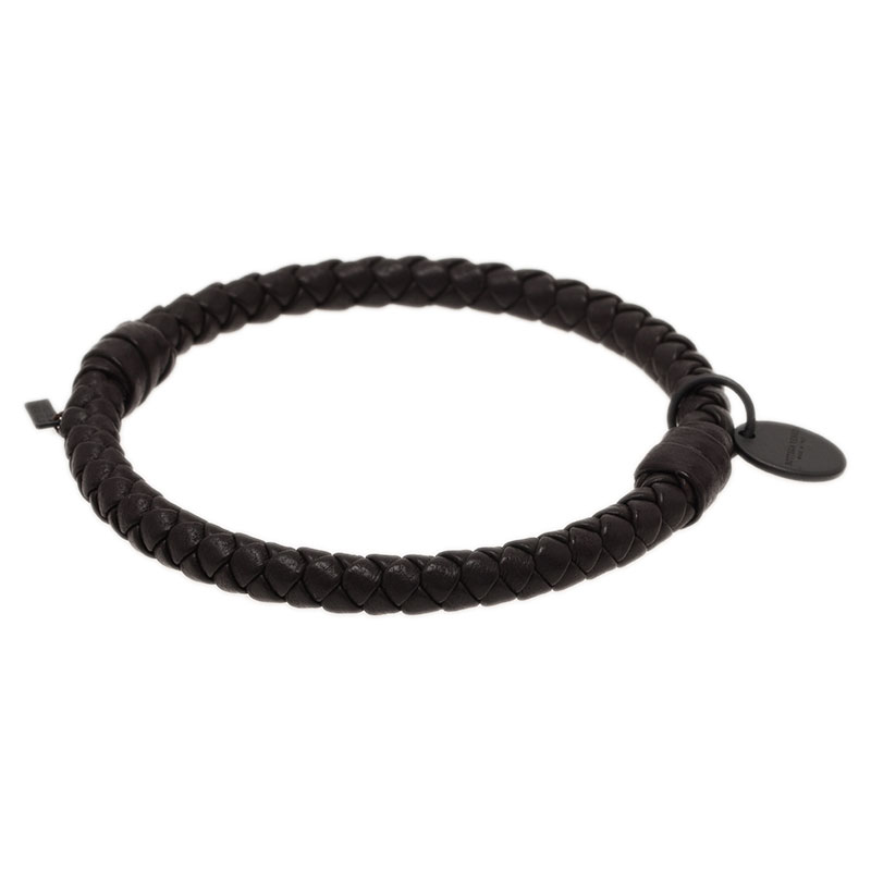 Bottega Veneta Intrecciato Nappa Brown Leather Bracelet