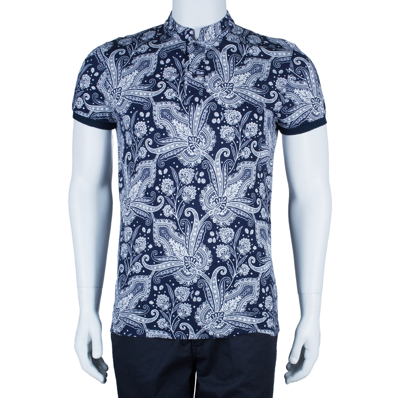 Etro Men's Navy Paisley Polo Shirt S