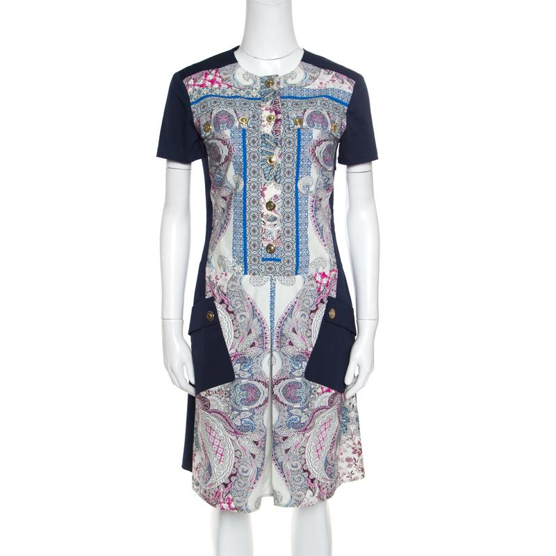 Купить со скидкой Etro Blue Paisley Printed Cotton Patch Pocket Detail Sheath Dress S