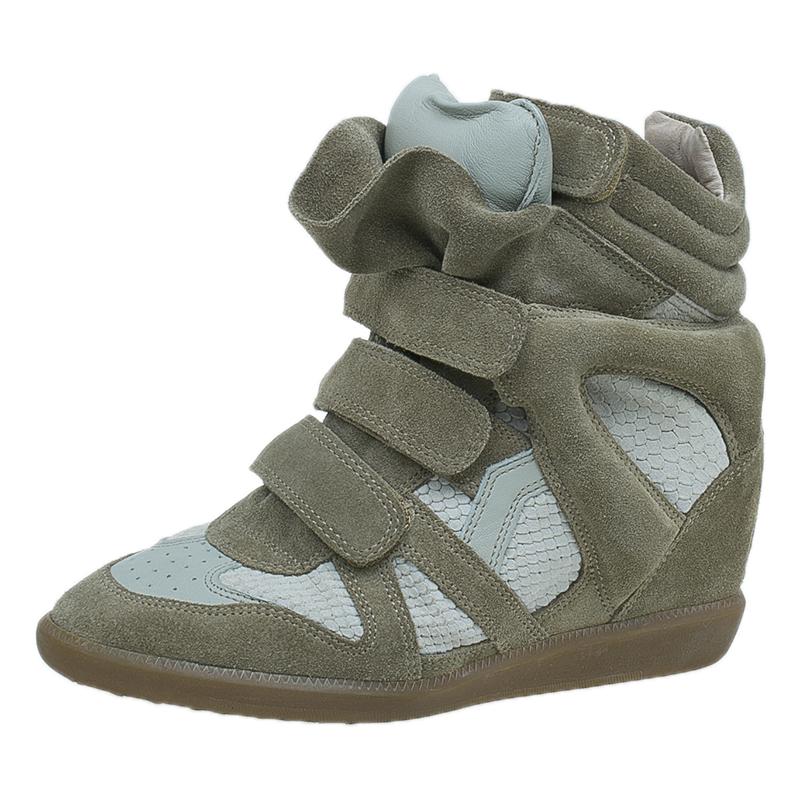 Isabel Marant Beige Bekett Wedge Sneakers Size 38