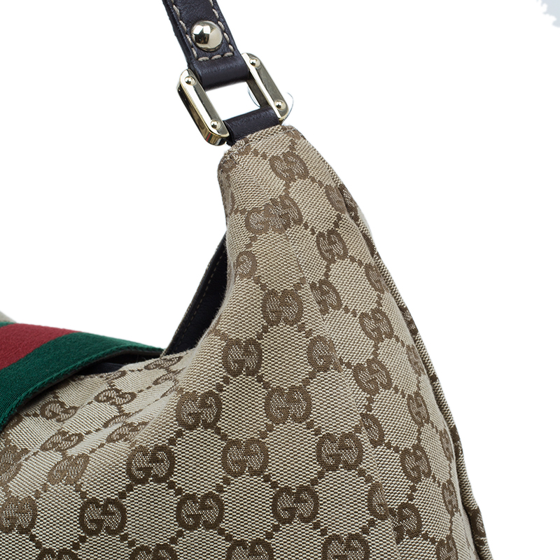 Gucci Beige Monogram Canvas Large Ladies Web Hobo