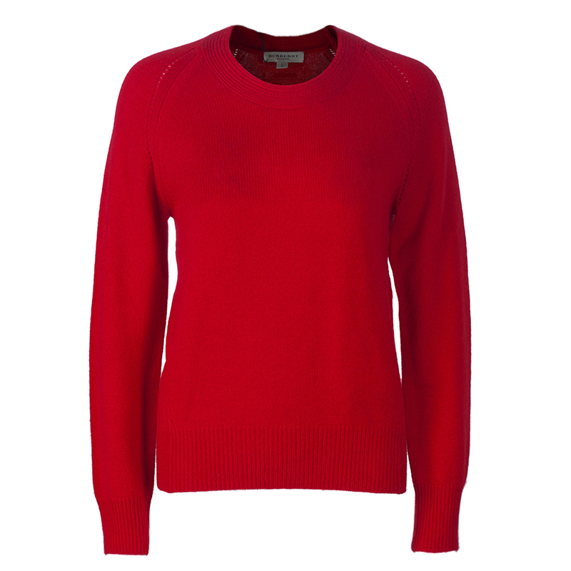 Burberry Red Crewneck Cashmere Knit Sweater L