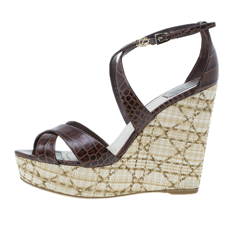 Dior Brown Croc Embossed Leather Criss Cross Wedges Size 40